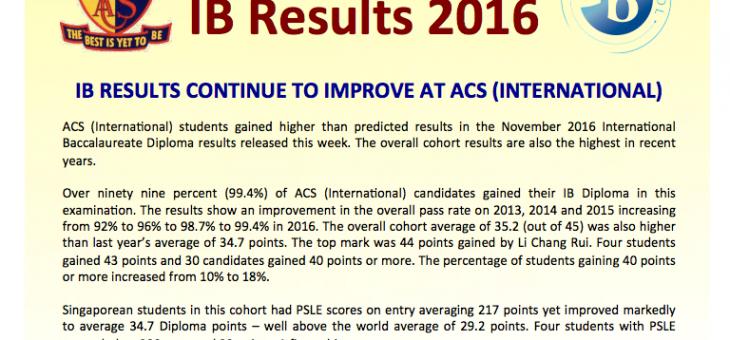 2016年11月のIBDP結果の発表